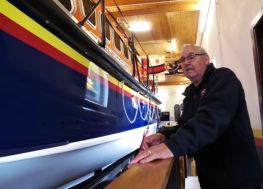 Bernie Humphries with the New Quay Mersey Class All-Weather Lifeboat