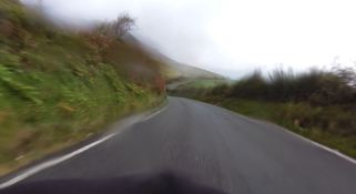 Wet, windy, blurred, fast descent from Yr Eifl